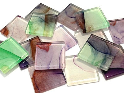 Ink Pattern 2.5cm Glass Tiles - No. 11 (HM)