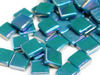 Deep Teal Iridised Glass Tiles 12mm