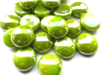 Kiwi Green Opalescent Glass Gems