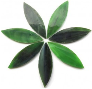 Large Olive Green Stained Glass Petals