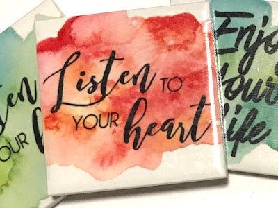 'Listen To Your Heart' Ceramic Quote Tile (HM)