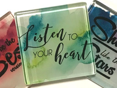 Listen To Your Heart (Green) - Glass Quote Tile (HM)