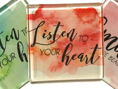 Listen To Your Heart (Red) - Glass Quote Tile (HM)
