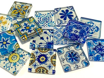 Mixed Patterned Glass Tiles - No. 12 (HM)