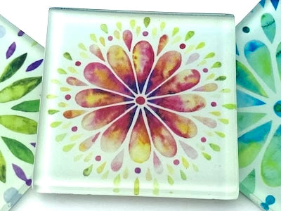 Mandala Watercolour 5cm Glass Tiles - Pattern 1 (HM)