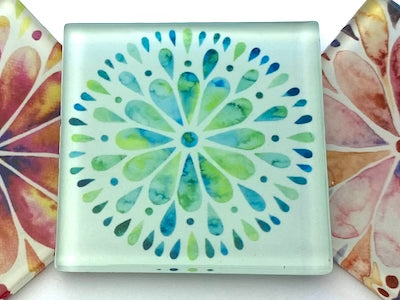 Mandala Watercolour 5cm Glass Tiles - Pattern 2 (H