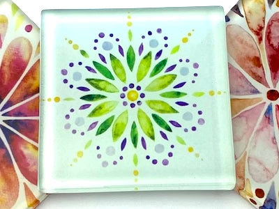 Mandala Watercolour 5cm Glass Tiles - Pattern 3 (HM)