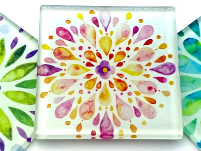 Mandala Watercolour 5cm Glass Tiles - Pattern 4 (HM)