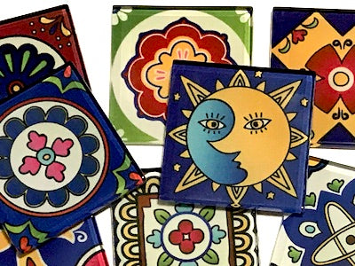 Mexican Inspired Glass Tiles 2.5cm - Mix 3