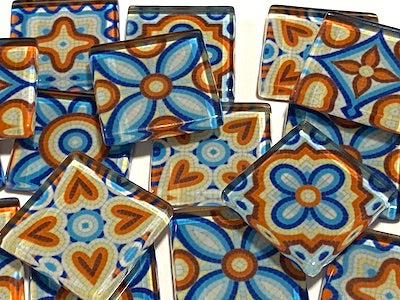 Mixed Patterned Glass Tiles - No. 5 (HM)