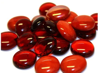 Mixed Red Glass Gems