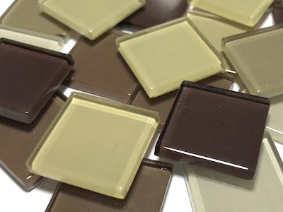 Mixed Brown Glass Mosaic Tiles 2.5cm