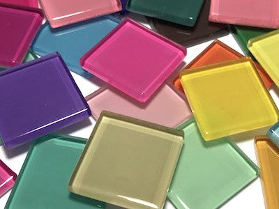 Mixed Coloured Glass Mosaic Tiles 2.5cm