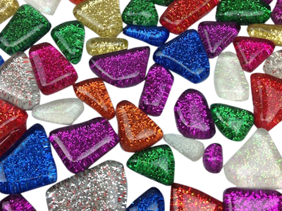 Mixed Glitter Glass Mosaic Tiles - Irregular