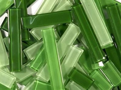 Green Mixed Glass Rectangles