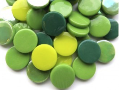 Mixed Green Large Glass Dots