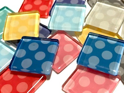 Mixed Large Dots Glass Mosaic Tiles 2.5cm