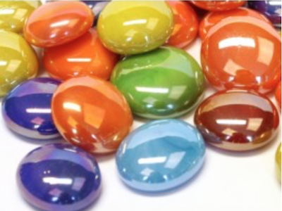 mixed opalescent glass gems