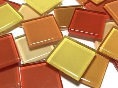 Mixed Orange Glass Mosaic Tiles 2.5cm