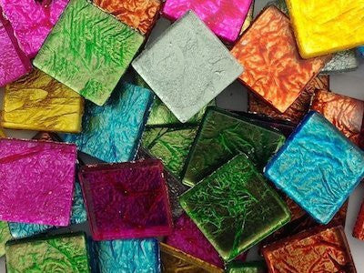 Mixed Silverfoil Glass Mosaic Tiles - 2 cm