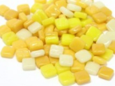 Mixed Yellow 8mm Glass Tiles