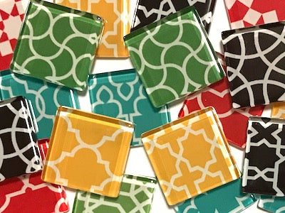 Moroccan Inspired Glass Tiles 2.5cm - Mix 3