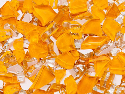 Orange Crackled Glass Mosaic Tiles