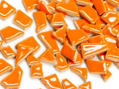 Orange ceramic puzzle pieces irregular