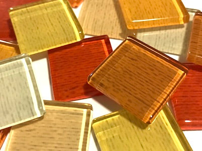 Orange Fine Textured Glass Tiles 2.5cm