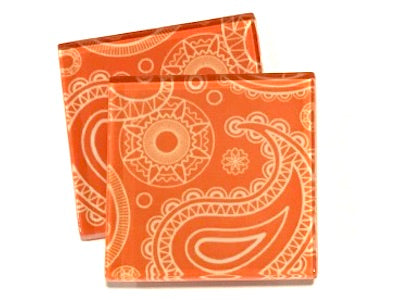 Orange Paisley 5cm Glass Tiles