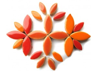 Orange & Red Mixed Ceramic Petals