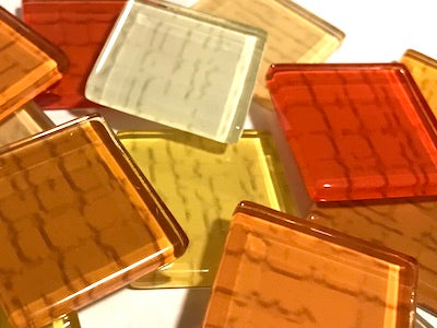 Orange Textured Glass Tiles 2.5cm