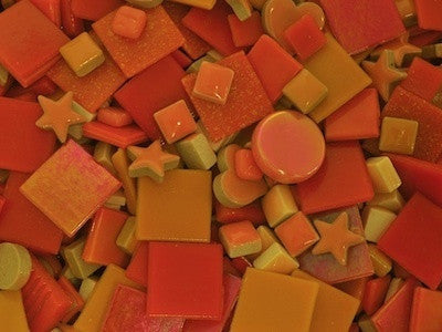 Orange Tile & Tesserae Colour Packs. A great selection of orange coloured mosaic materials