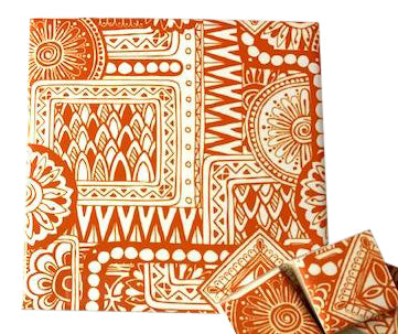 Orange Tribal Ceramic Tiles 10x10cm