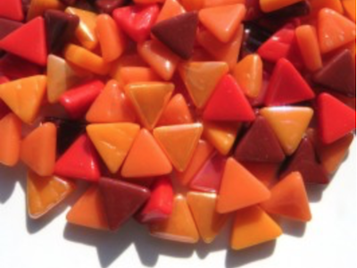 Mixed Red & Orange Glass Triangles