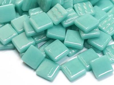 pale teal 1.2cm gloss glass tiles