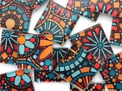 Patterned Handmade Glass Tiles 2.5cm - No. 8 (HM)