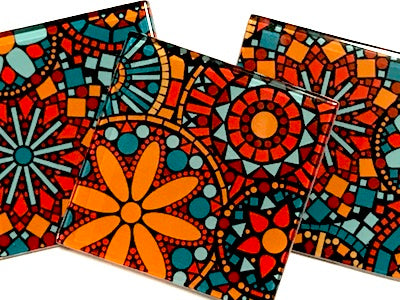 Patterned Handmade 5cm Glass Tiles - No. 9