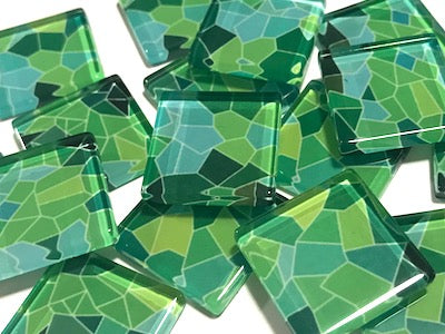 Patterned Handmade Glass Tiles 2.5cm - No. 28 (HM)