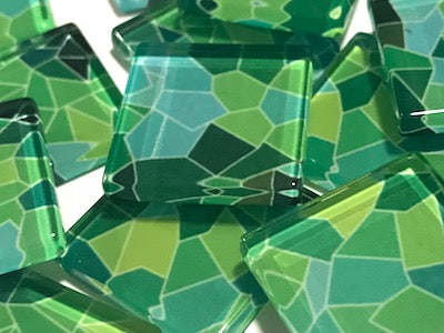 Patterned Handmade Glass Tiles 2.5cm - No. 28