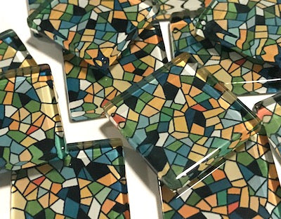 Patterned Handmade Glass Tiles 2.5cm - No. 30