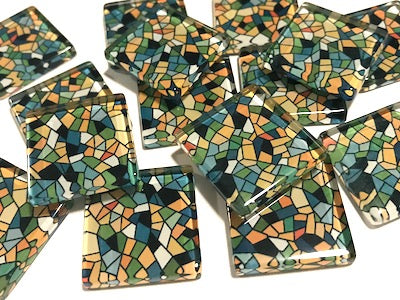 Patterned Handmade Glass Tiles 2.5cm - No. 30 (HM)