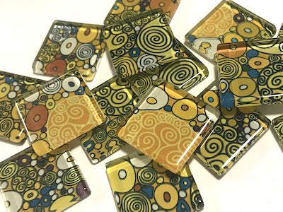 Patterned Handmade Glass Tiles 2.5cm - No. 31