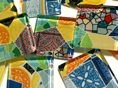 Patterned Handmade Glass Tiles 2.5cm - No. 32