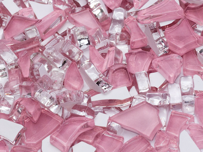 Pink Crackled Glass Mosaic Tiles