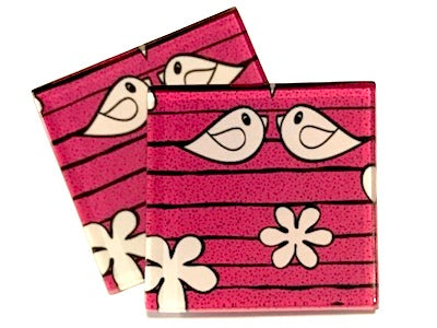 Pink Birds 5cm Glass Tiles