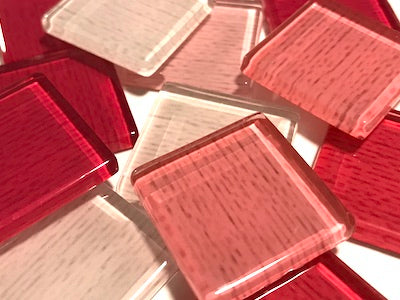 Pink Fine Textured Glass Tiles 2.5cm