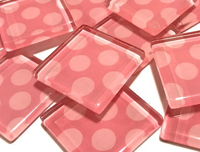 Pink Large Dots Glass Mosaic Tiles 2.5cm