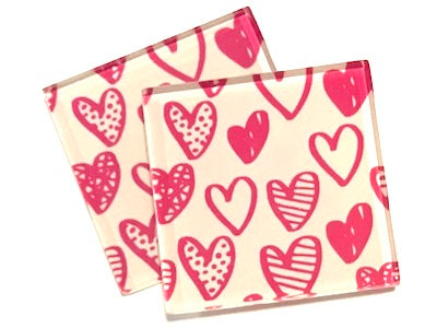 Pink Love Hearts 5cm Glass Tiles