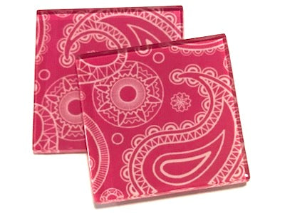 Pink Paisley 5cm Glass Tiles